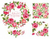 stock photo of floral bouquet  - Watercolor roses leaves - JPG