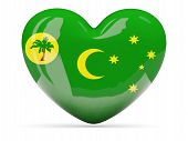 foto of coco  - Heart shaped icon with flag of cocos islands isolated on white - JPG