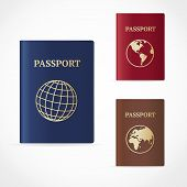 stock photo of passport template  - Vector illustration passport set with map and with globe icon - JPG