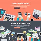 Постер, плакат: Set of flat design illustration concepts for video and digital marketing