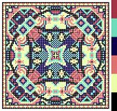 stock photo of stitches  - geometric square pattern for cross stitch ukrainian traditional embroidery - JPG