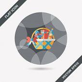 image of gift basket  - Christmas Gift Baskets Flat Icon With Long Shadow - JPG