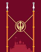 picture of khanda  - an illustration of a stylized gurdwara greeting card with symbollic spears covered in saffron color cloth on a dark red background - JPG