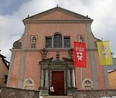stock photo of italian alps  - Church on the Square in medieval town Bormio - JPG