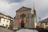 picture of italian alps  - Church on the Square in medieval town Bormio - JPG