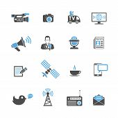stock photo of sms  - Media and News Icons Set with Journalism Television Newspaper and SMS in two color - JPG