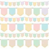 stock photo of tassels  - set of pastel tasselled horizontally seamless bunting isolated on white - JPG