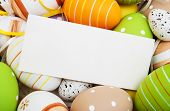 stock photo of egg whites  - easter background with easter eggs and greeting card - JPG