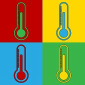 image of thermometer  - Pop art thermometer simbol icons - JPG