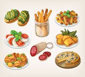 stock photo of italian food  - Set of traditional italian food products and elements of italian cuisine - JPG