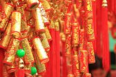 image of chinese crackers  - chinese red lantern and fake firecrackers - JPG