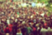picture of outdoor  - Out of focus blurred Concert Crowd at Outdoor Space as Music Festival Background - JPG