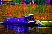 foto of barge  - A digitally converted painting of a canal barge in Llangollen North Wales - JPG