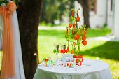 stock photo of wedding table decor  - wedding settings for outdoors celebration - JPG