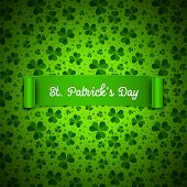 image of saint patrick  - Saint Patricks Day card ribbon on shamrock leaves pattern - JPG