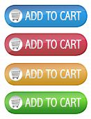 stock photo of cart  - Four different color ecommerce web buttons that say add to cart on a white background - JPG