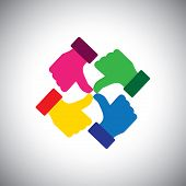 pic of follow-up  - vector icon of colorful thumbs up hands  - JPG