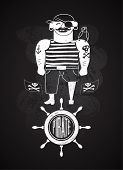 picture of skull bones  - Cartoon pirate design on chalkboard - JPG