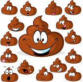 stock photo of excrement  - funny poo with many expressions isolated on white background - JPG