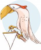 picture of parrots  - Cartoon parrot holding a blank banner vector illustration - JPG