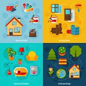 stock photo of comfort  - Interior design concept set with home decoration finishing works cosiness comfort and landscape flat icons isolated vector illustration - JPG