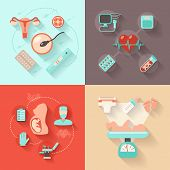 image of maternal  - Pregnancy design concept set with woman anatomy delivery and maternity flat icons isolated vector illustration - JPG