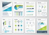 picture of blue  - Green and blue modern infographic brochure vector elements - JPG