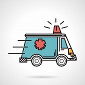 foto of ambulance car  - Flat colored vector icon with black contour for moves blue ambulance car with red siren on white background - JPG