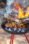 image of slaughter  - Some pieces of fat on the barbecue - JPG