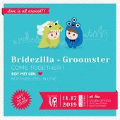 pic of kawaii  - Wedding Invitation Template with Cute kawaii groom and bride character - JPG