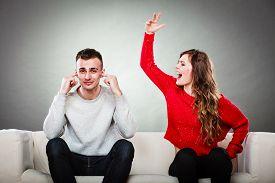 stock photo of conflict couple  - couple having argument  - JPG