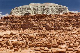 picture of hoodoo  - Blue Moutain Mushroom Shaped Hoodoos Goblin Valley State Park Rock Canyon San Rafael Desert Utah USA Southwest - JPG