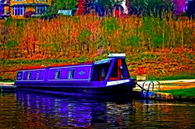 stock photo of barge  - A digitally converted painting of a canal barge in Llangollen North Wales - JPG