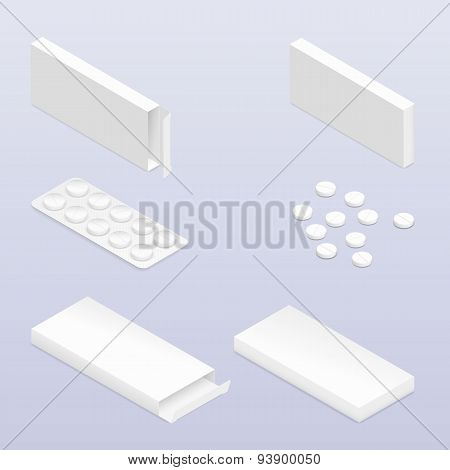 Tablets In Blister And Packaging Detailed Isometric Icon Set