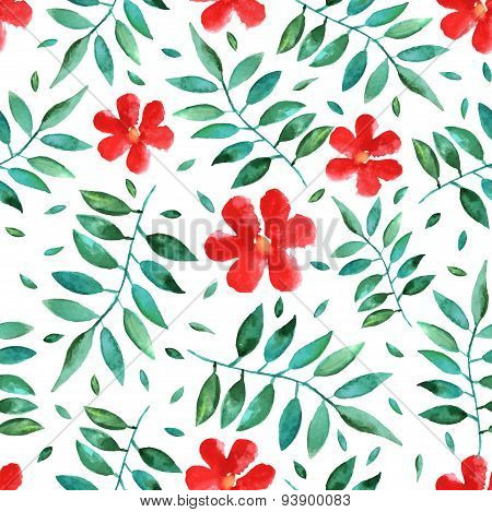 Seamless vector background with hand-drawn watercolor leafs and flowers. foliage isolated on white
