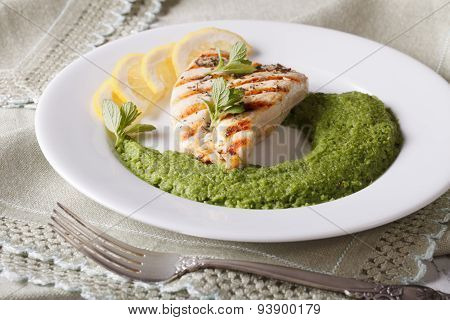 Grilled Chicken And A Side Dish Of Green Peas, Horizontal