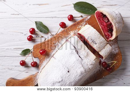 Cherry Strudel On A Wooden Board. Horizontal Top View Closeup