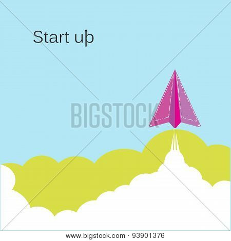 Creative Paper Rocket Sign And White Cloud On Blue Sky, Conceptual Of Start Up New Business Project.