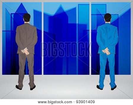Businessmen Looking Through Window