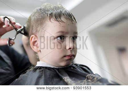 Barber Cutting Hair Of A Child