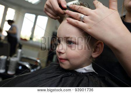 Boy At Hairdresser Salon