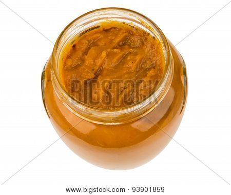 Opened Glass Transparent Jar With Squash Caviar