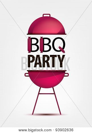 Barbecue BBQ party invitation with grill.  logo, icon, sign.