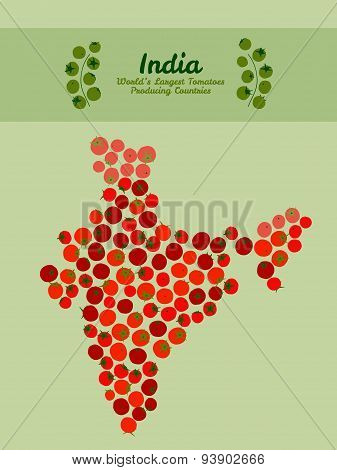 India map made of red tomatoes. Illustration. Red tomato background.