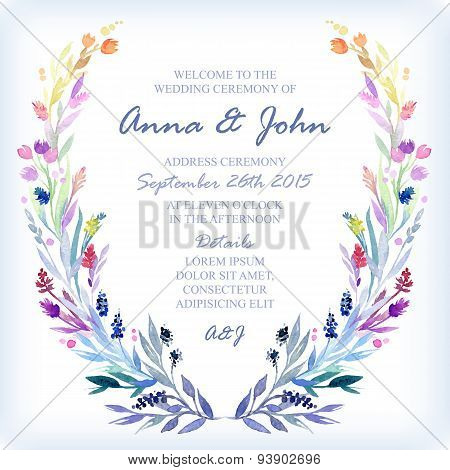 Wedding Invitation Design Template With Watercolor Floral Frame.