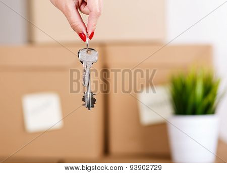 Female Hand Holding Keys