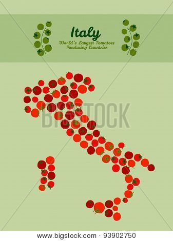 Italy map made of red tomatoes. Organic food card. Invitation.