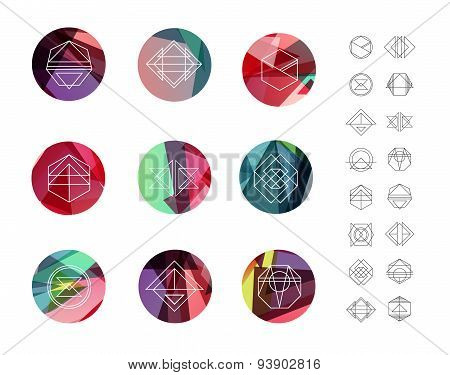 Set of colored crystal circles in polygon style with geometric shapes.