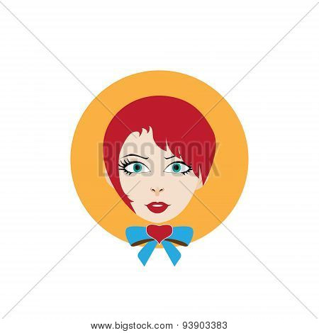 girl with red hair and a bow-knot