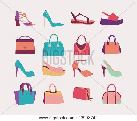 Fashion Women Bags Handbags And High Heels Shoes